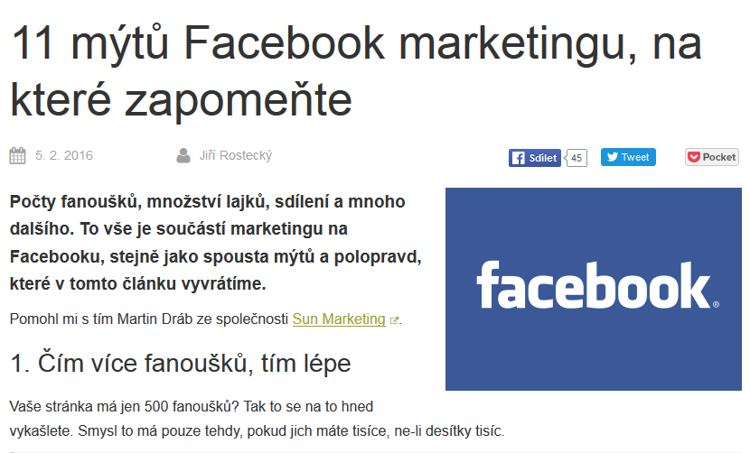 11 mýtů Facebook marketingu