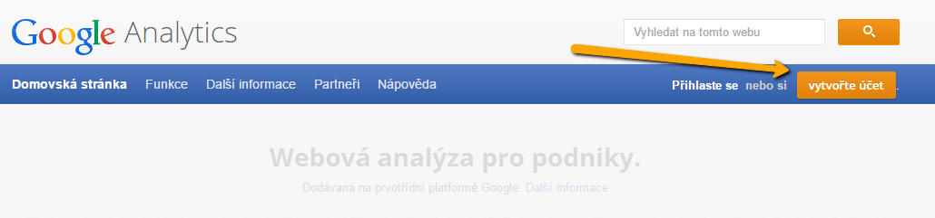 Registrace do Google Analytics